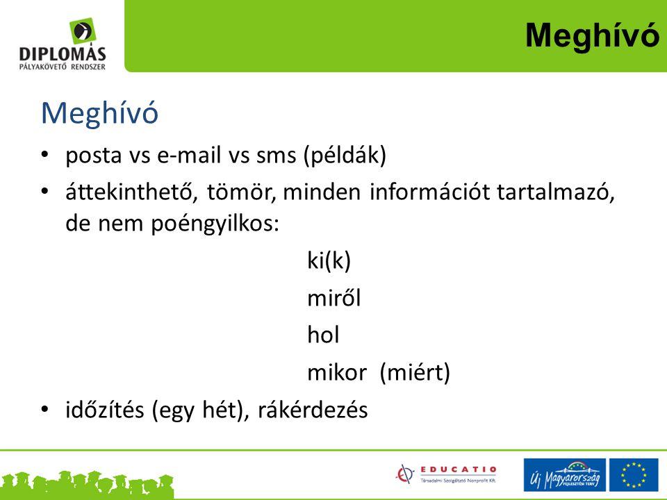 Meghívó Meghívó posta vs e-mail vs sms (példák)