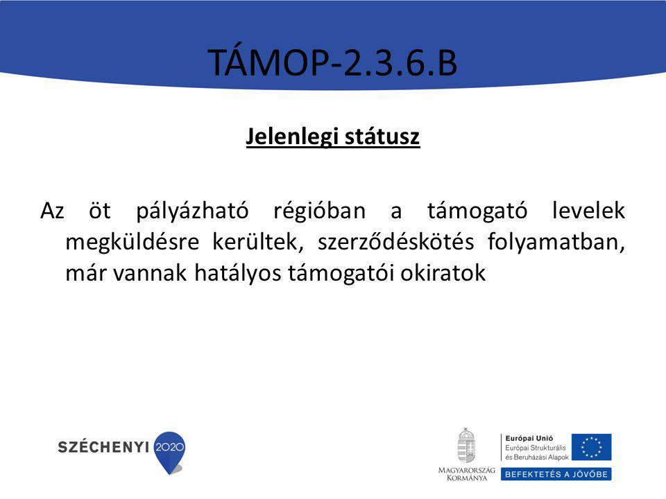 TÁMOP-2.3.6.B Jelenlegi státusz