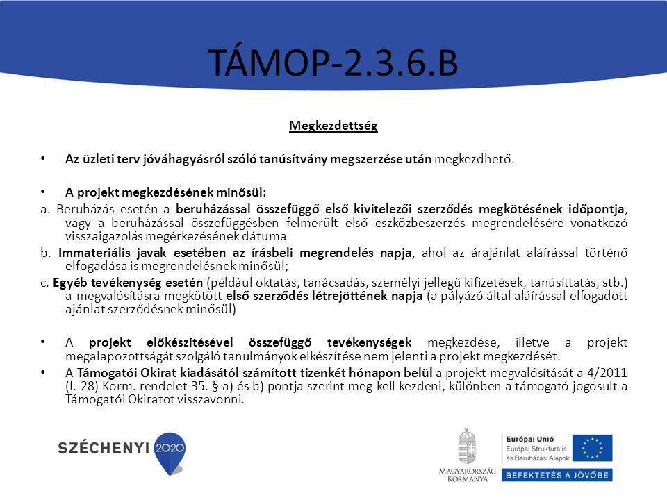 TÁMOP-2.3.6.B Megkezdettség
