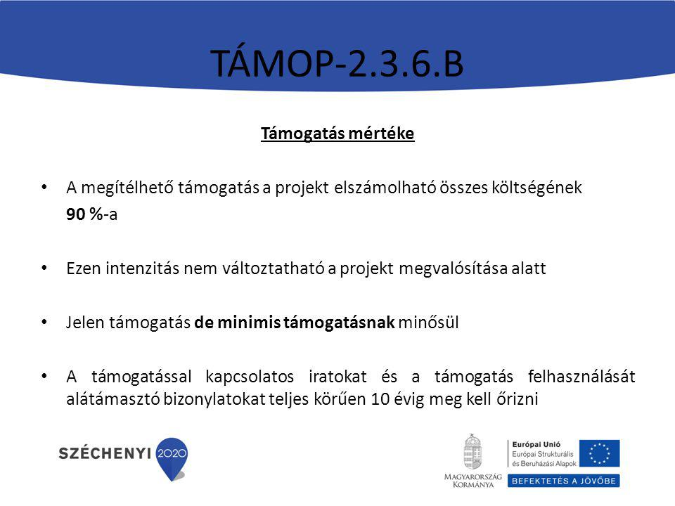 TÁMOP-2.3.6.B Támogatás mértéke