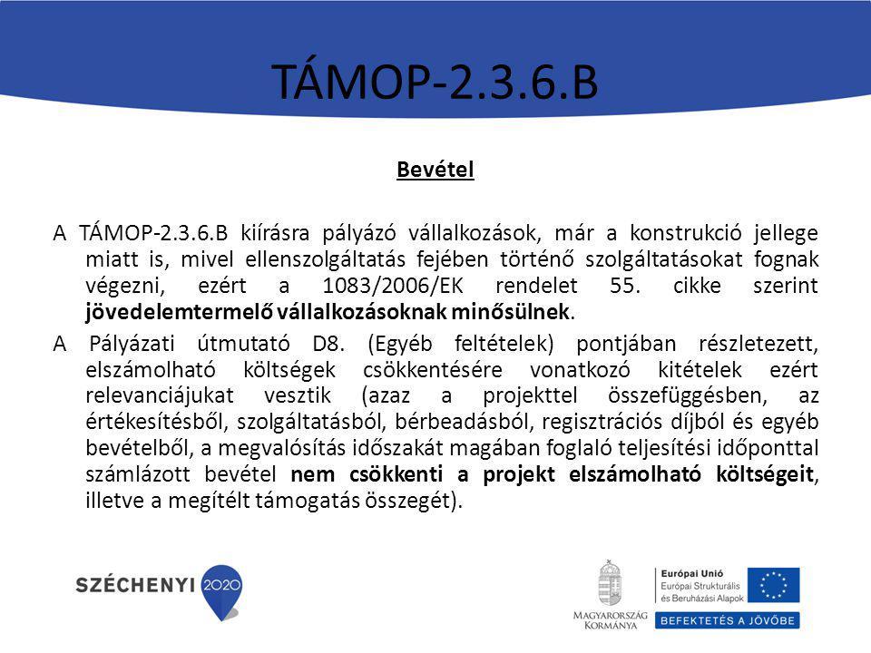 TÁMOP-2.3.6.B Bevétel.