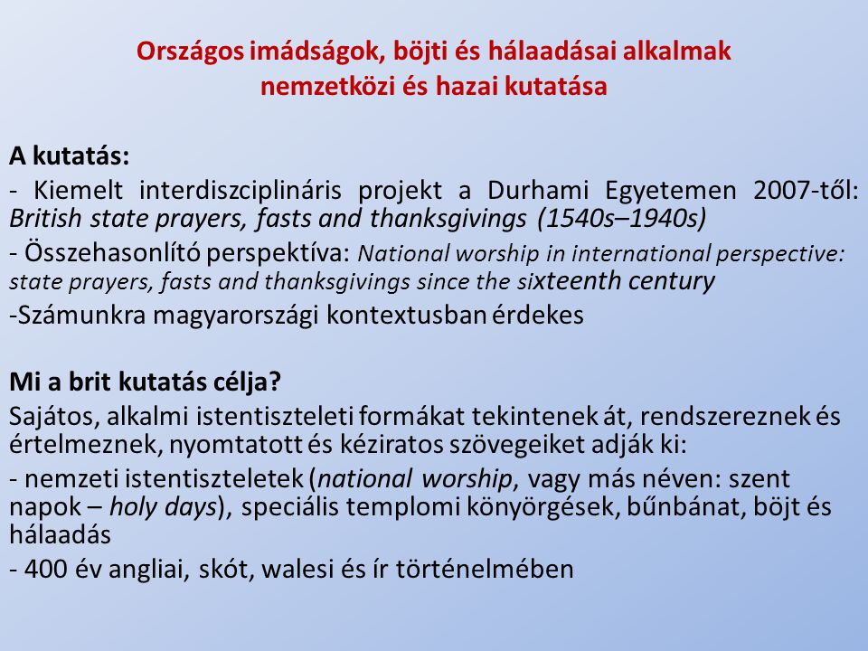 Országos imádságok, böjti és hálaadásai alkalmak