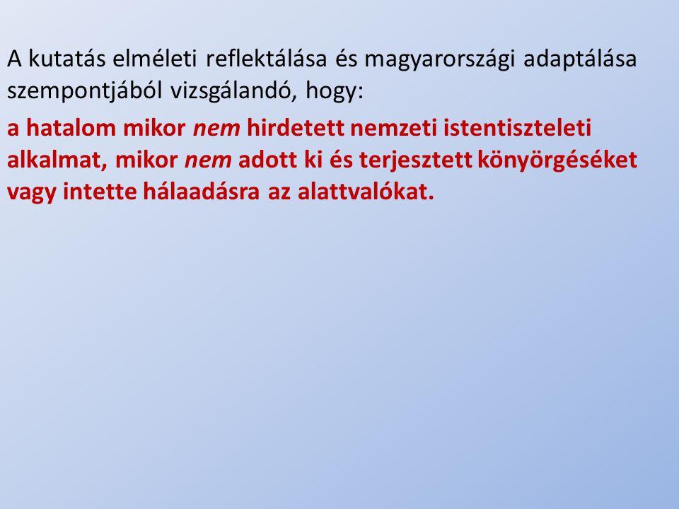 A kutatás elméleti reflektálása és magyarországi adaptálása szempontjából vizsgálandó, hogy: