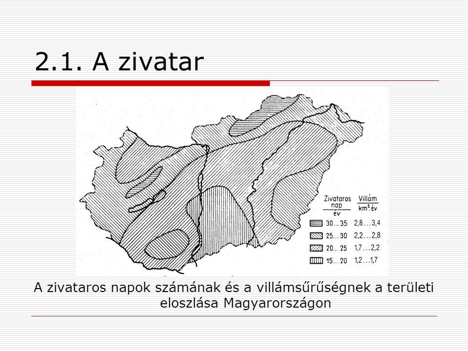 2.1. A zivatar A zivataros napok számának és a villámsűrűségnek a területi eloszlása Magyarországon