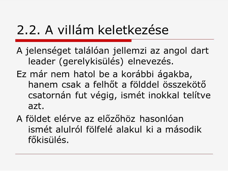 2.2. A villám keletkezése A jelenséget találóan jellemzi az angol dart leader (gerelykisülés) elnevezés.