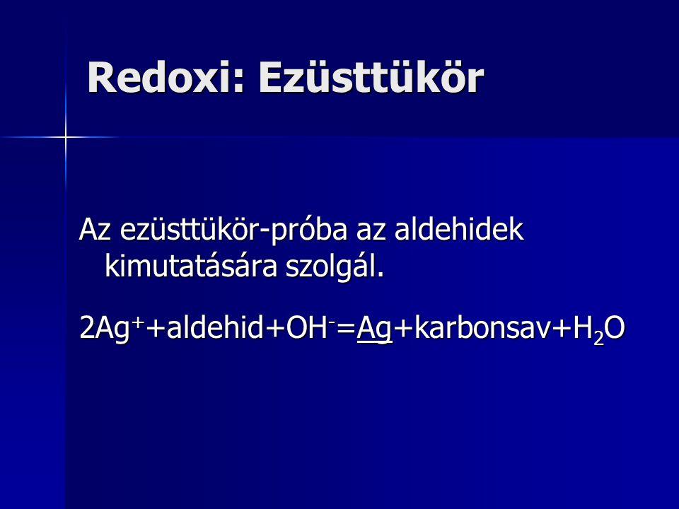 Redoxi: Ezüsttükör Az ezüsttükör-próba az aldehidek kimutatására szolgál.