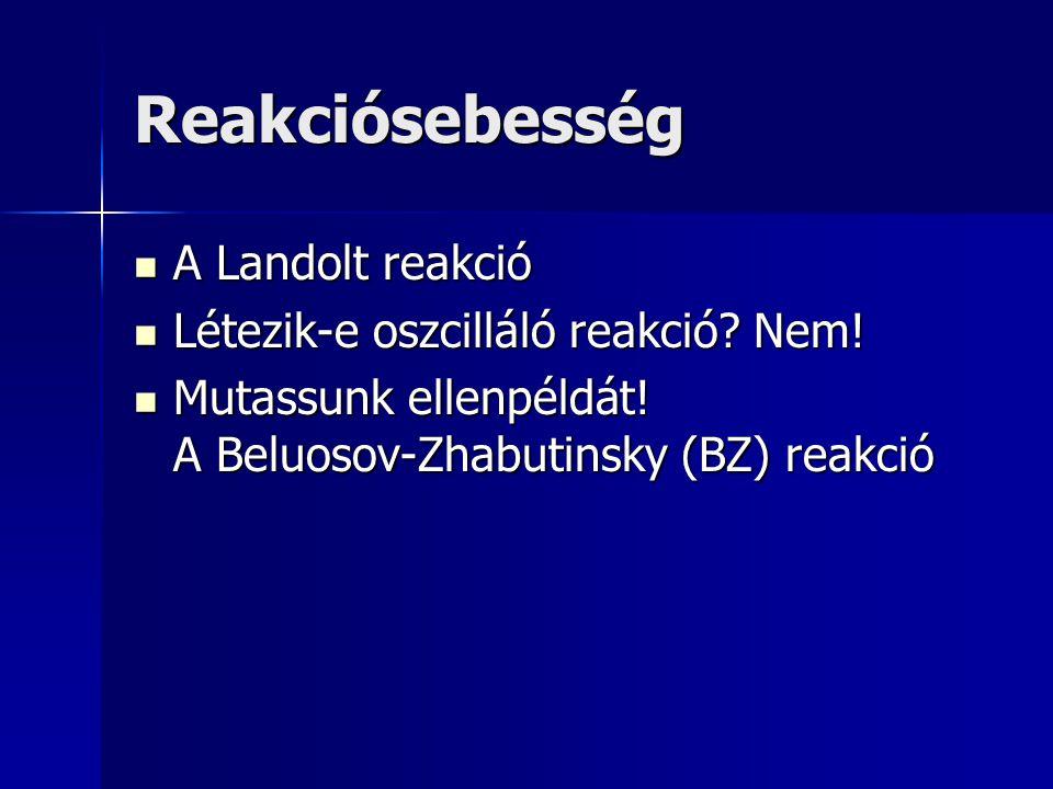 Reakciósebesség A Landolt reakció Létezik-e oszcilláló reakció Nem!