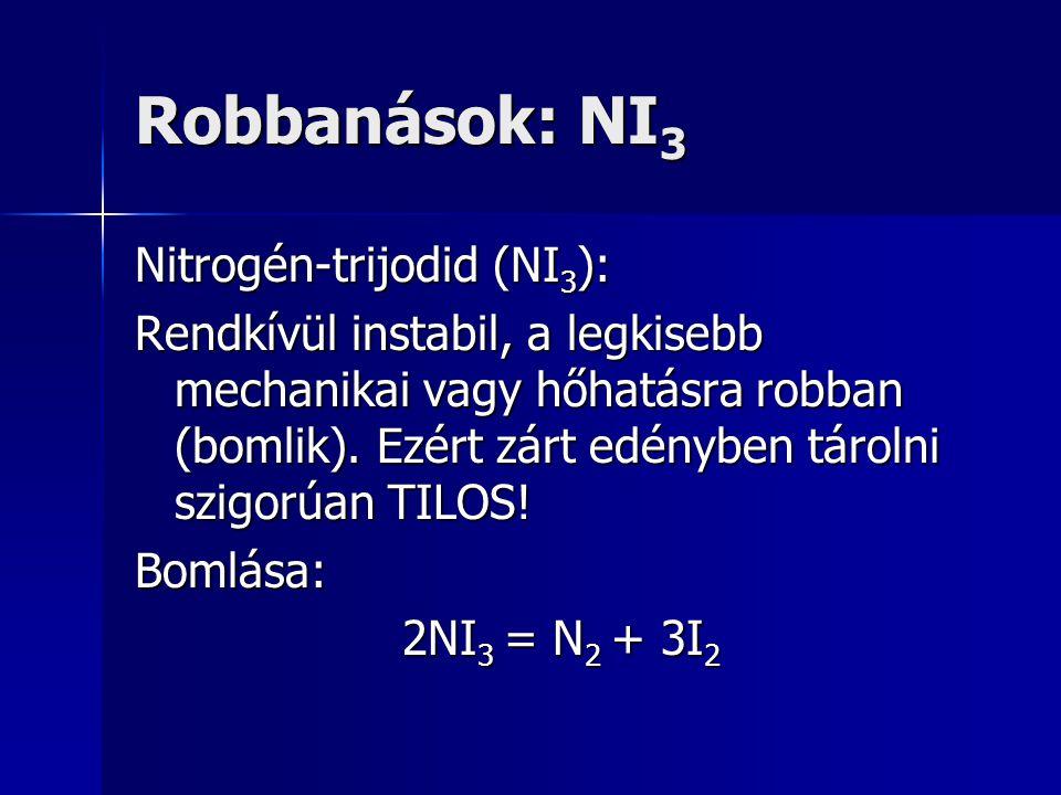 Robbanások: NI3 Nitrogén-trijodid (NI3):