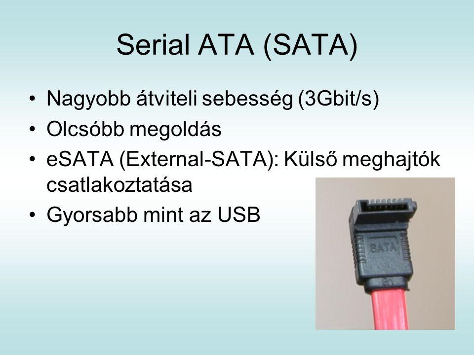 Serial ATA (SATA) Nagyobb átviteli sebesség (3Gbit/s) Olcsóbb megoldás