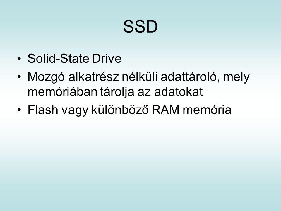 SSD Solid-State Drive. Mozgó alkatrész nélküli adattároló, mely memóriában tárolja az adatokat.
