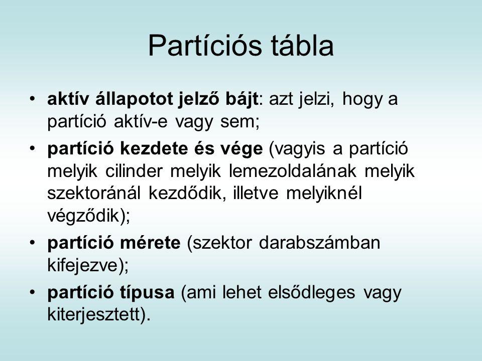 Partíciós tábla aktív állapotot jelző bájt: azt jelzi, hogy a partíció aktív-e vagy sem;