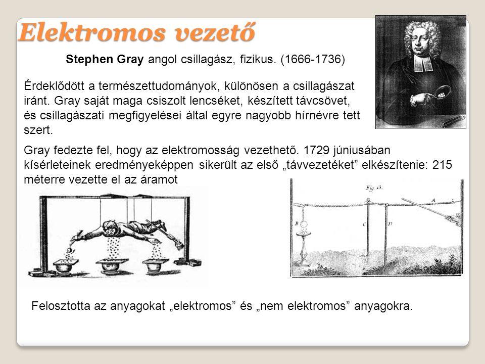 Elektromos vezető Stephen Gray angol csillagász, fizikus. (1666-1736)