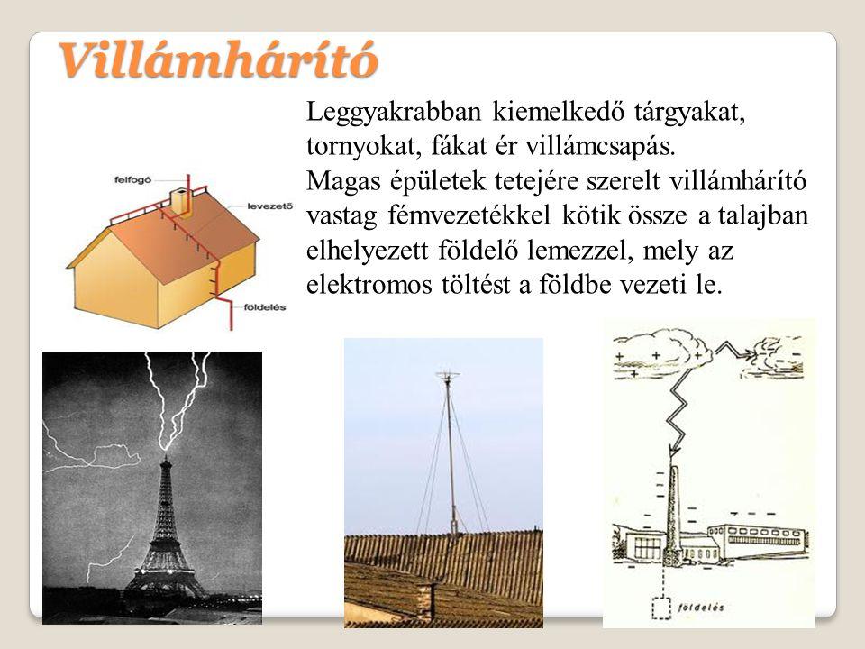 Villámhárító Leggyakrabban kiemelkedő tárgyakat, tornyokat, fákat ér villámcsapás.