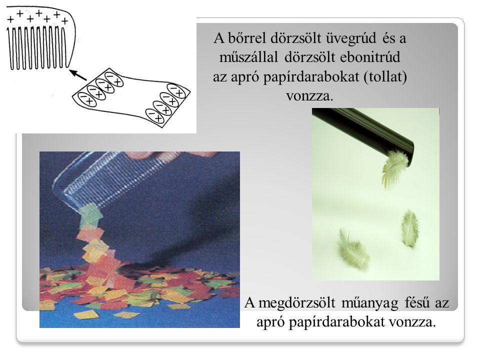 A megdörzsölt műanyag fésű az apró papírdarabokat vonzza.
