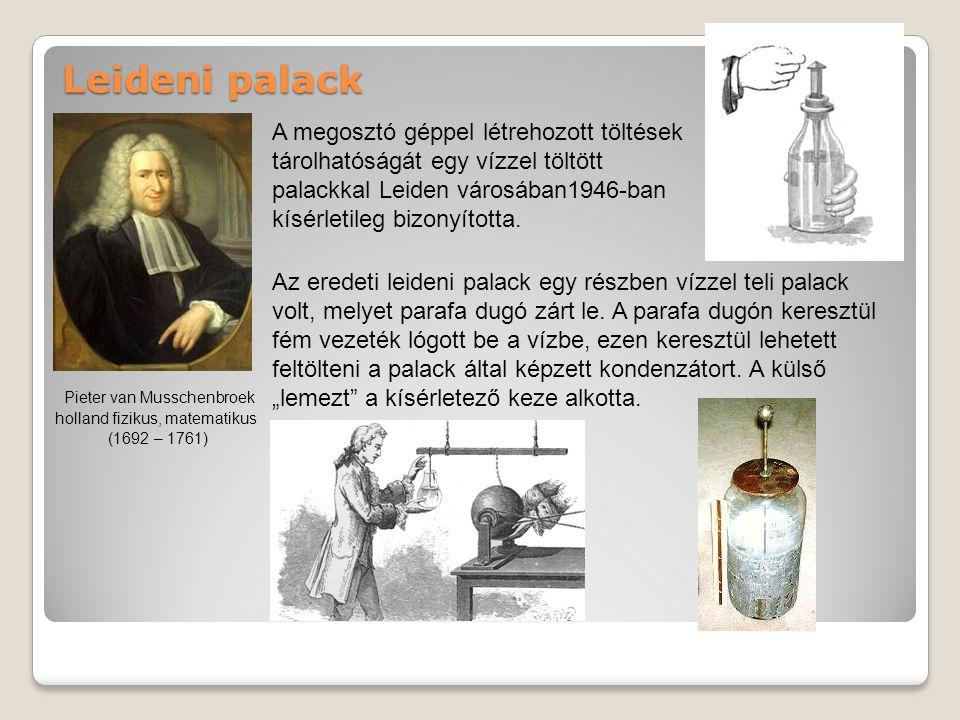 Leideni palack A megosztó géppel létrehozott töltések tárolhatóságát egy vízzel töltött palackkal Leiden városában1946-ban kísérletileg bizonyította.