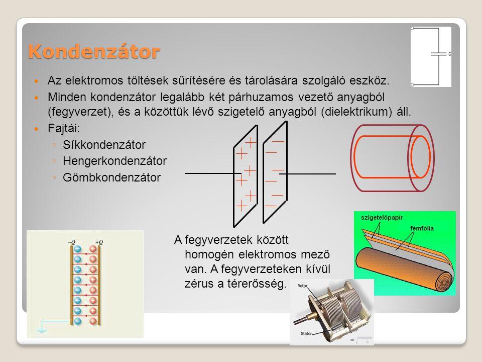 Kondenzátor Az elektromos töltések sűrítésére és tárolására szolgáló eszköz.