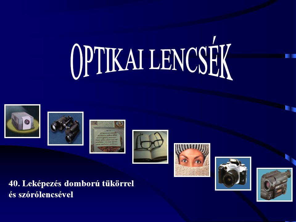 OPTIKAI LENCSÉK 40. Leképezés domború tükörrel és szórólencsével