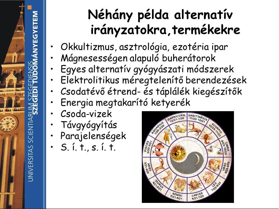 Néhány példa alternatív irányzatokra,termékekre