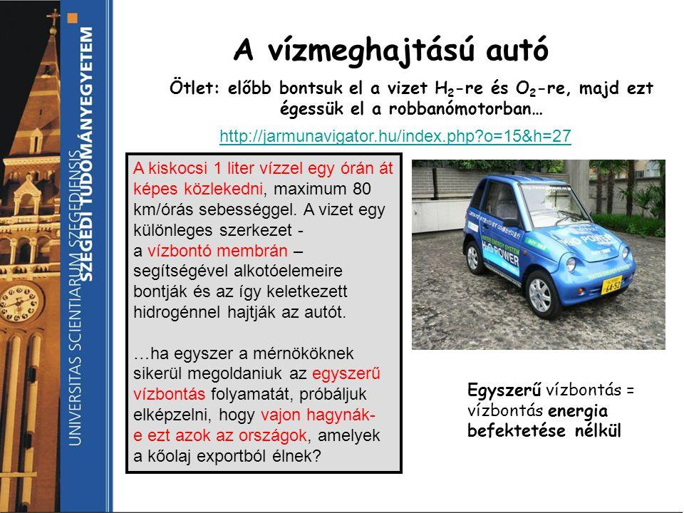 A vízmeghajtású autó Ötlet: előbb bontsuk el a vizet H2-re és O2-re, majd ezt égessük el a robbanómotorban…