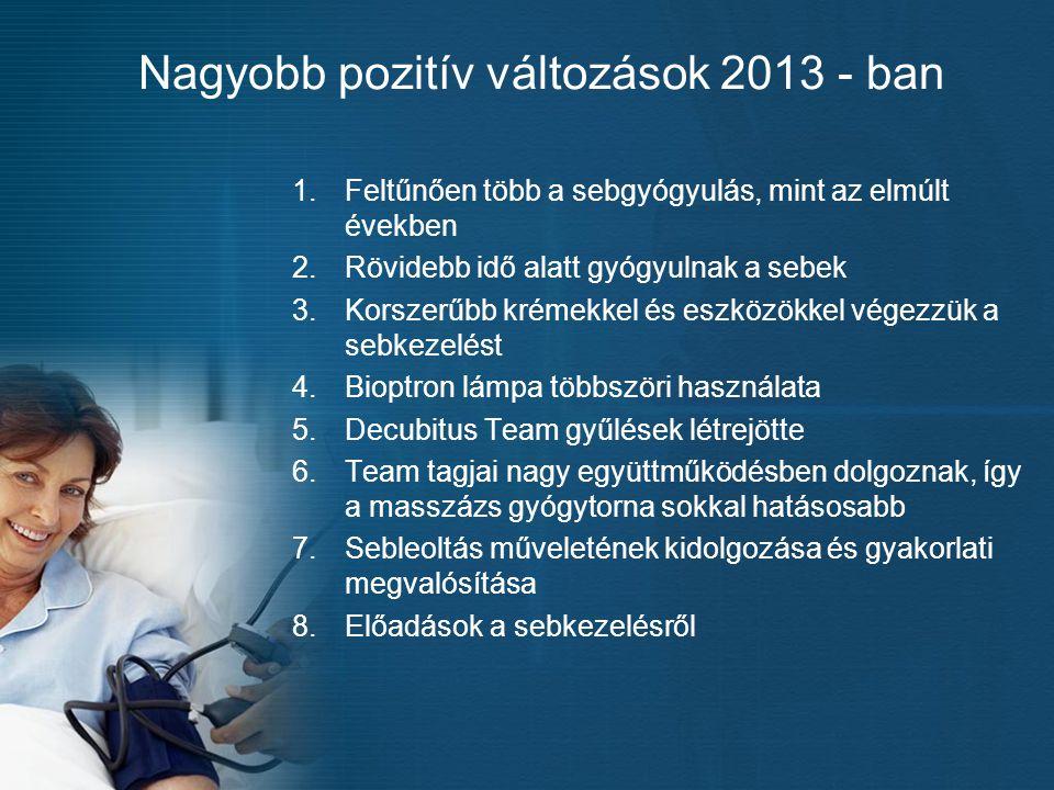 Nagyobb pozitív változások 2013 - ban