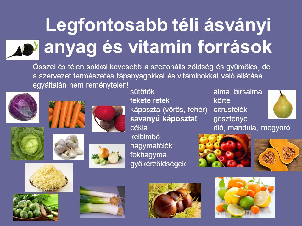 Legfontosabb téli ásványi anyag és vitamin források