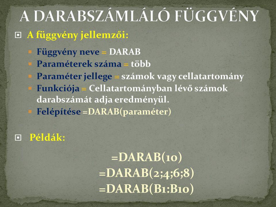 A DARABSZÁMLÁLÓ FÜGGVÉNY