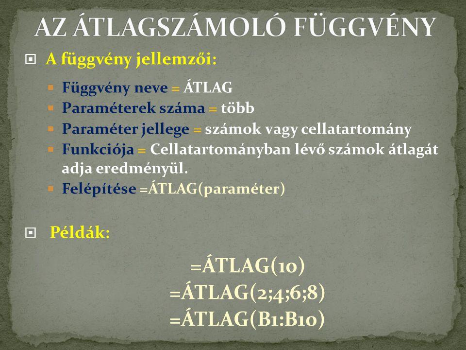 AZ ÁTLAGSZÁMOLÓ FÜGGVÉNY