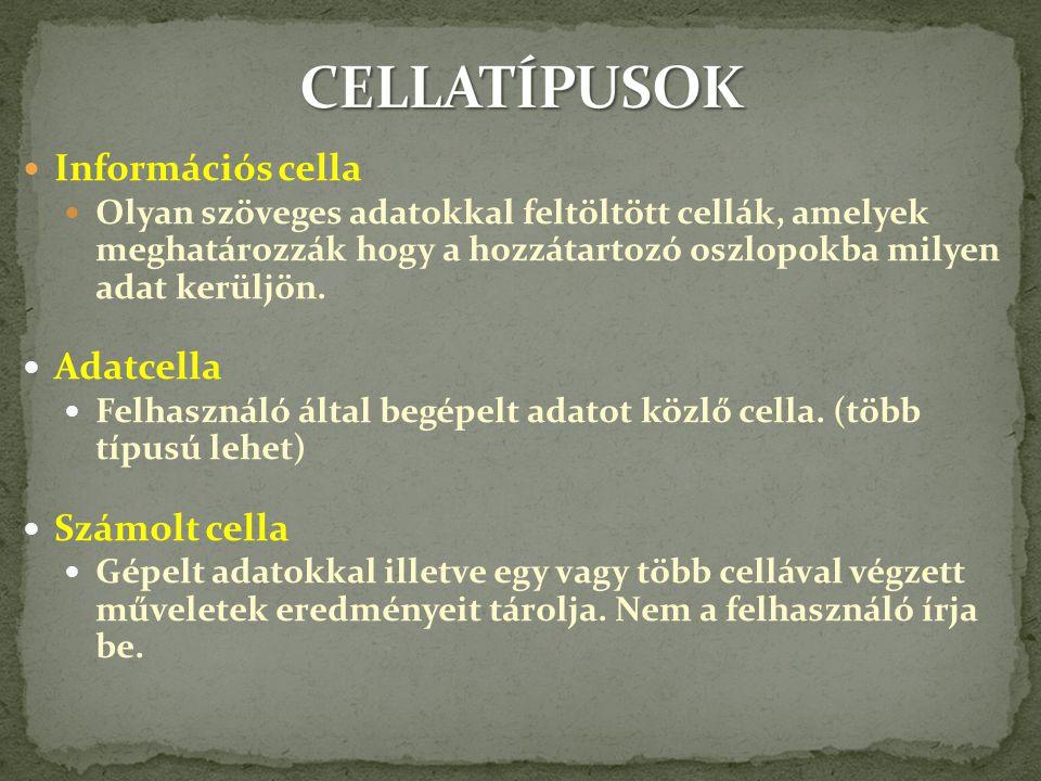 CELLATÍPUSOK Információs cella Adatcella Számolt cella