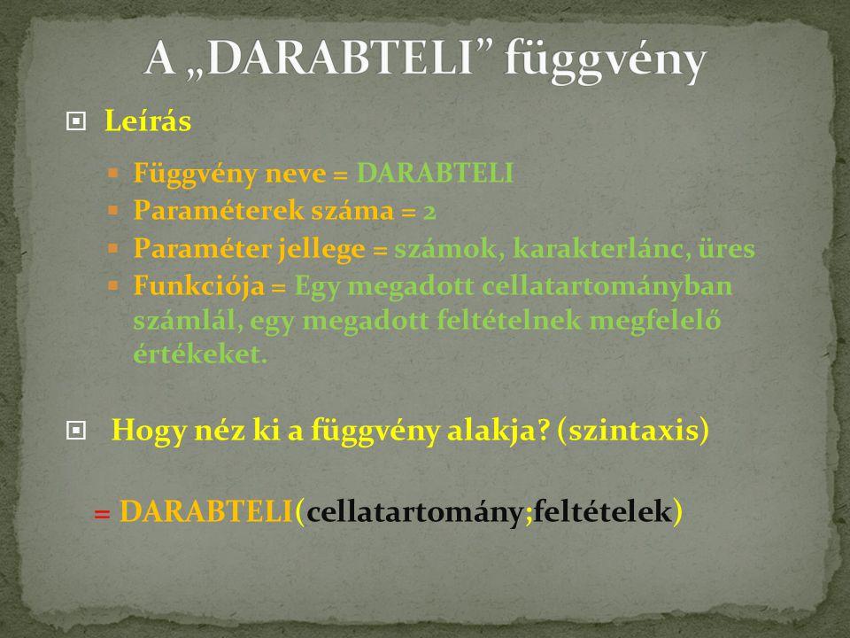 """A """"DARABTELI függvény"""