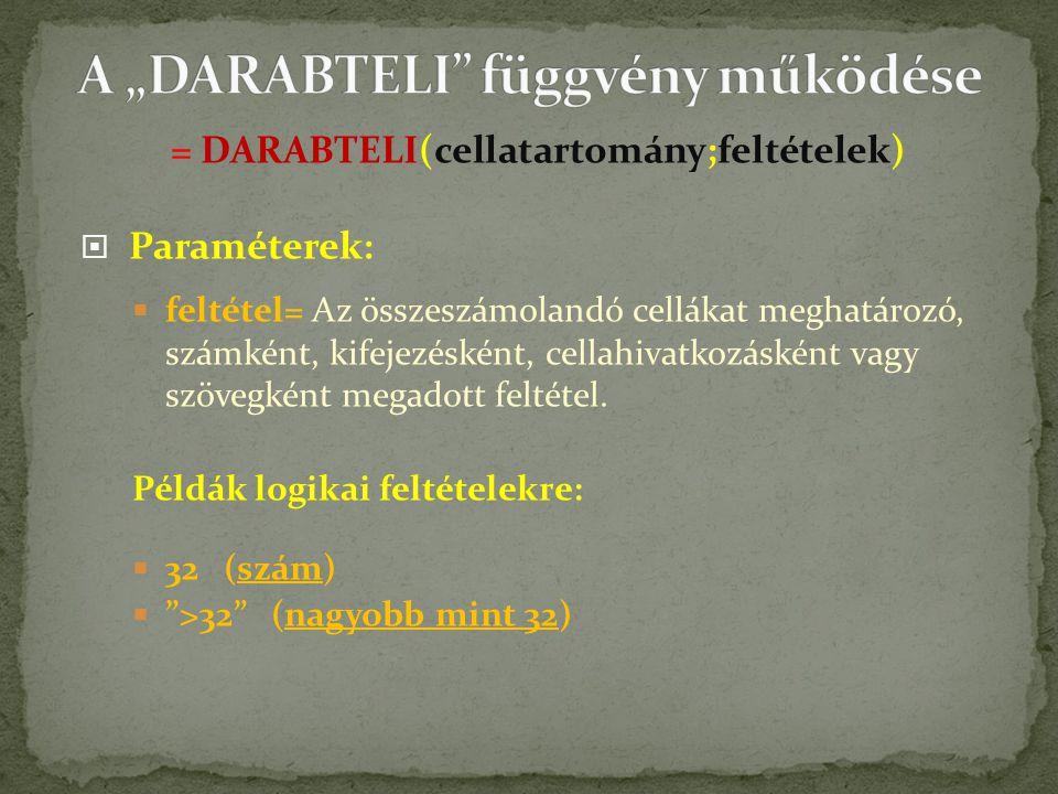 """A """"DARABTELI függvény működése"""