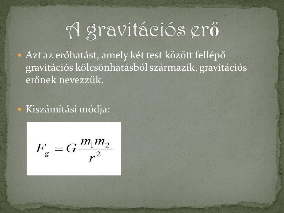 A gravitációs erő Azt az erőhatást, amely két test között fellépő gravitációs kölcsönhatásból származik, gravitációs erőnek nevezzük.
