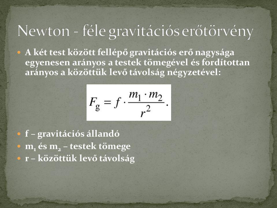 Newton - féle gravitációs erőtörvény