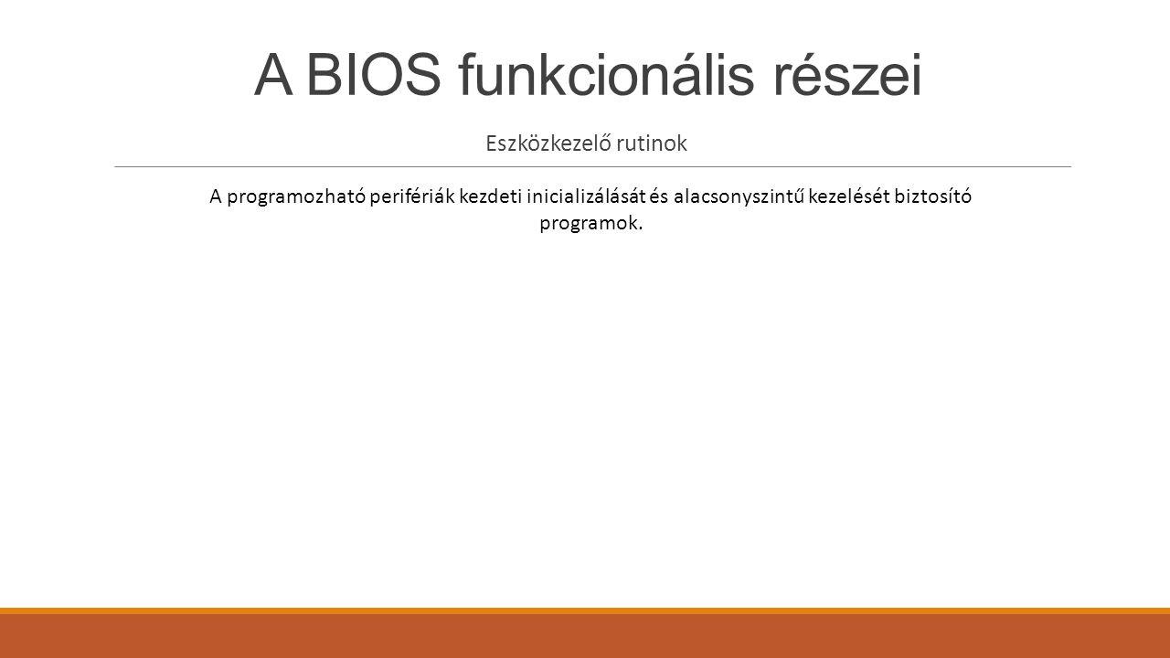 A BIOS funkcionális részei