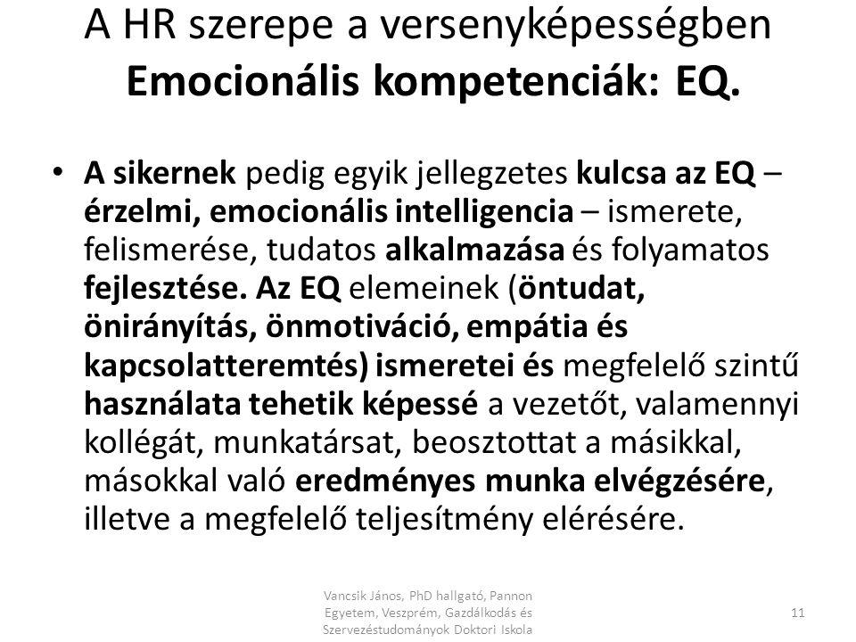 A HR szerepe a versenyképességben Emocionális kompetenciák: EQ.