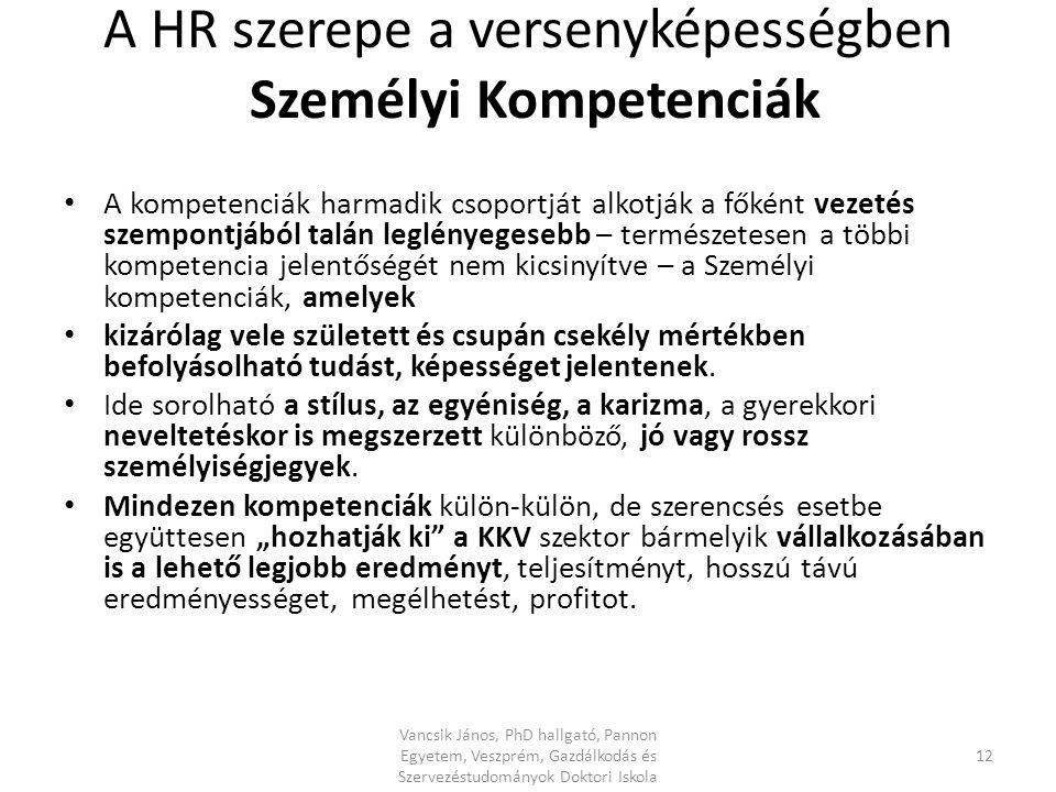 A HR szerepe a versenyképességben Személyi Kompetenciák