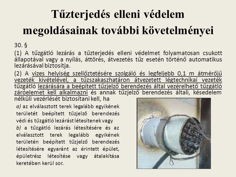 Tűzterjedés elleni védelem megoldásainak további követelményei