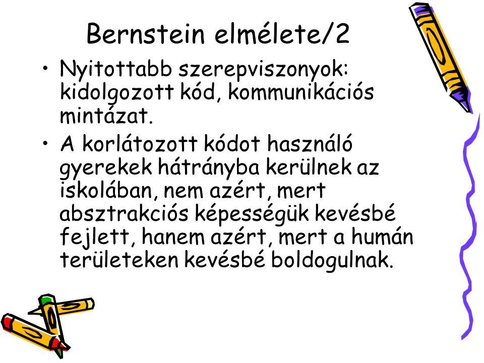 Bernstein elmélete/2 Nyitottabb szerepviszonyok: kidolgozott kód, kommunikációs mintázat.