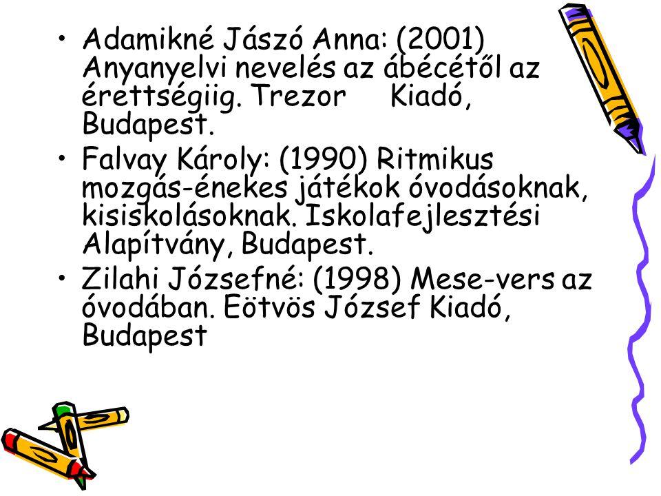 Adamikné Jászó Anna: (2001) Anyanyelvi nevelés az ábécétől az érettségiig. Trezor Kiadó, Budapest.