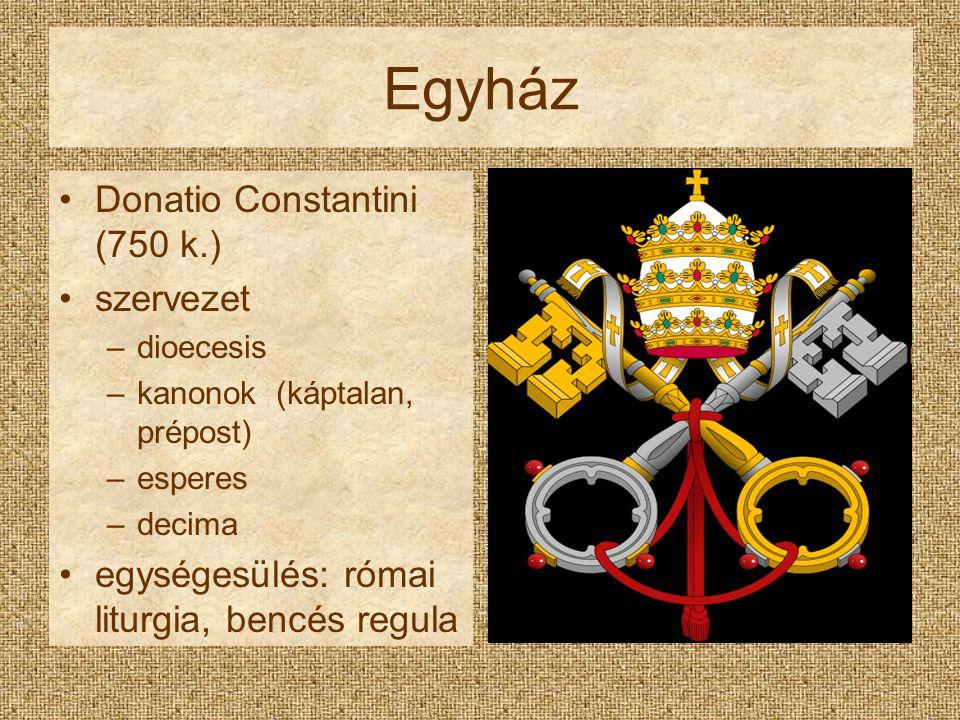 Egyház Donatio Constantini (750 k.) szervezet