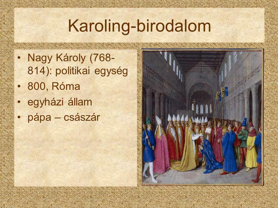 Karoling-birodalom Nagy Károly (768-814): politikai egység 800, Róma