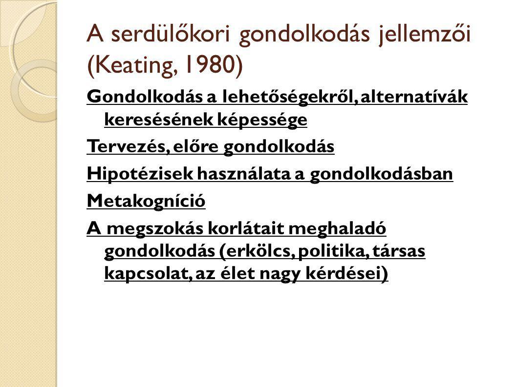 A serdülőkori gondolkodás jellemzői (Keating, 1980)