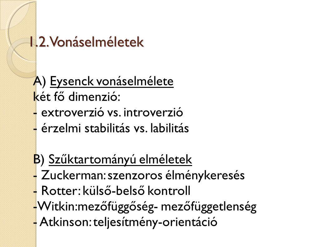1.2. Vonáselméletek A) Eysenck vonáselmélete két fő dimenzió: