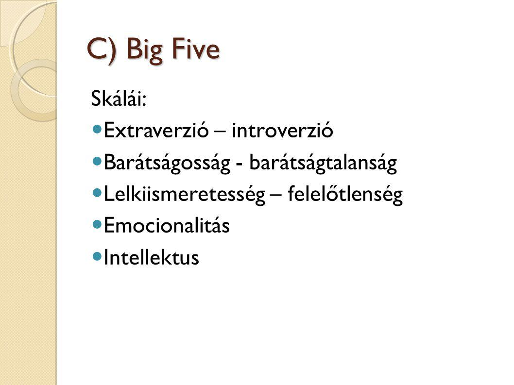 C) Big Five Skálái: Extraverzió – introverzió