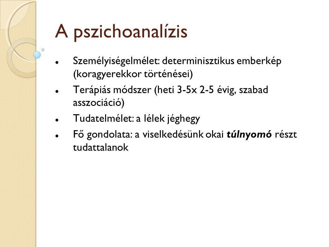 A pszichoanalízis Személyiségelmélet: determinisztikus emberkép (koragyerekkor történései)