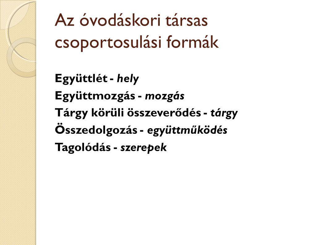 Az óvodáskori társas csoportosulási formák