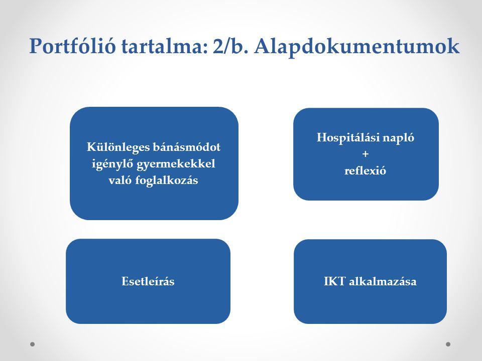 Portfólió tartalma: 2/b. Alapdokumentumok