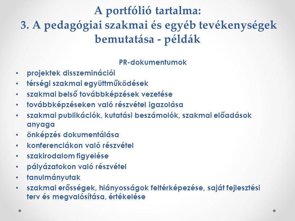 A portfólió tartalma: 3. A pedagógiai szakmai és egyéb tevékenységek bemutatása - példák
