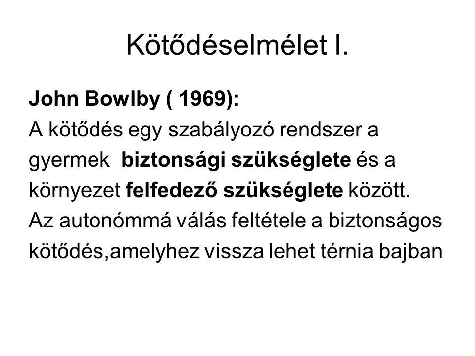 Kötődéselmélet I. John Bowlby ( 1969):