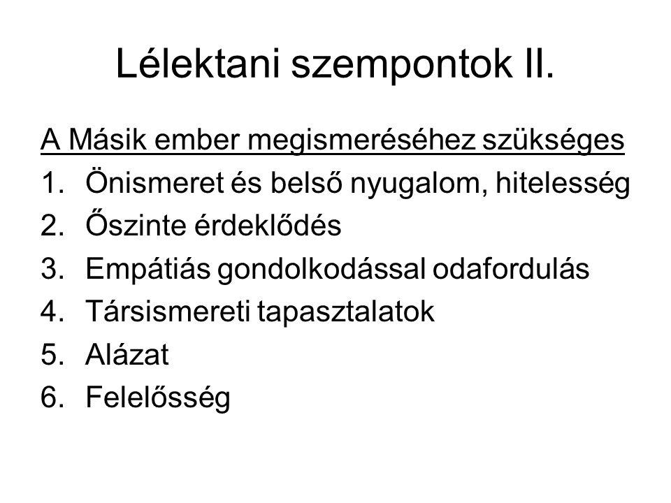 Lélektani szempontok II.