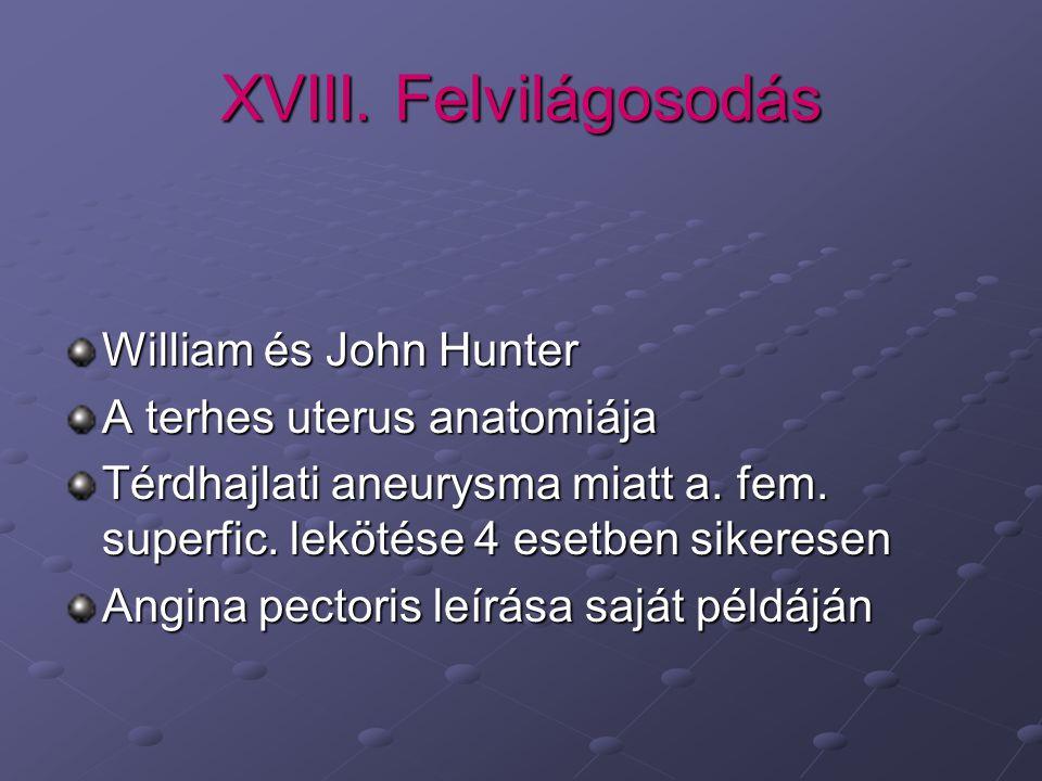 XVIII. Felvilágosodás William és John Hunter